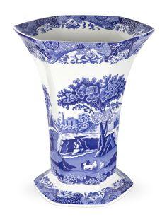Spode Blue Italian Hexagonal Vase - Blue Italian -Spode UK