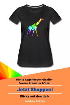 Bestelle dir jetzt die neuste Damenmode! Zum Beispiel dieses T-Shirt mit buntem Giraffen-Design oder gestalte dir dein eigenes Produkt   Klicke jetzt auf den Link! #Giraffe #Mode #oftd #fashion #t-shirt #shirt #damenshirts #rainbowanimals #spreadshirt #tiere