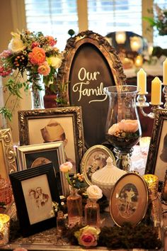 Wedding Trends :: Honor Family with Heritage Displays Note for Rebecca: I like this for the gift table. A bit less clustered though? Tree Wedding, Wedding Wishes, Wedding Table, Rustic Wedding, Winter Wedding Decorations, Table Decorations, Memory Table, Winter Table, Baby Shower