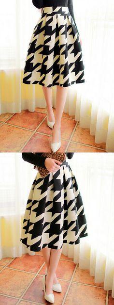 Color Block Houndstooth Print Midi Skater Skirt