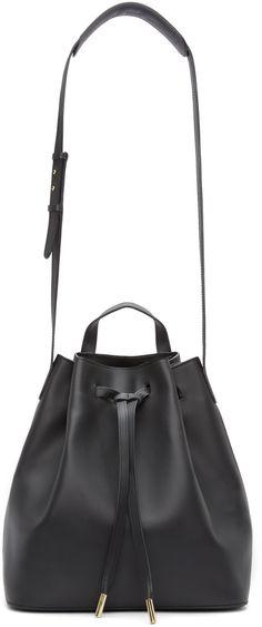 PB 0110 Black Leather Bucket Bag