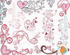 Heart Clip Art Doodles, Printable Wedding ClipArt, Black & White ...