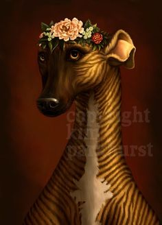 Brindle Greyhound Whippet Flowers Portrait Signed by toadbriar. , via Etsy.