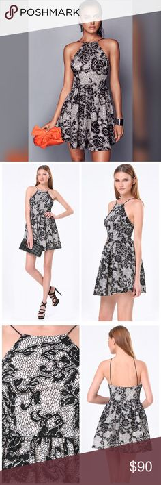 ❤️Square Neck Halter Dress❤️ Party- ready dress in an artful bonded lace. Featuring a square halter neck and slim stretch-cord straps that give the look a clean finish and sophisticated vibe. Full,gathered skirt sends playful signals. Hidden back hook-and-eye and zip closure. Fully lined. 100% Polyester. bebe Dresses