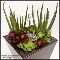 "artificial succulents for arrangements | 32"" Urban Chic Planter with Artificial Aloe & Assorted Succulents"