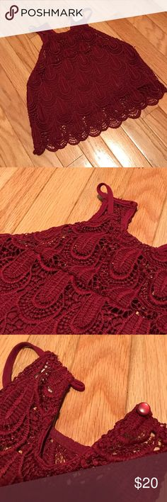 Knit Crop Top Super cute knit crop top! Maroon top that goes great with a skirt. Fits a little tight for a size small. Buttons at the top in the back. Bought from Pac Sun La Hearts Tops Crop Tops