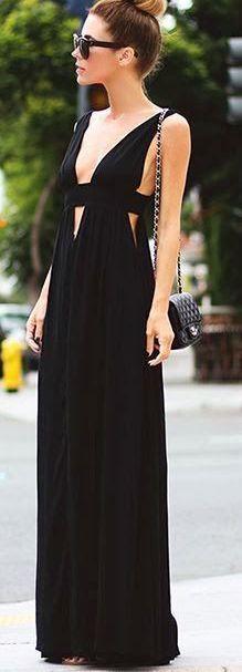 Black Chiffon Prom Dress,Sleeveless Evening Dress,V-Neck Casual Dress,Sexy dress,