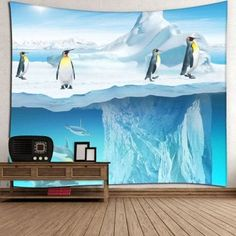Microfiber Wall Hanging Penguin Printed Tapestry - BLUE W59 INCH * L59 INCH