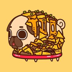 583 vind-ik-leuks, 3 reacties - Puglie Pug (@pugliepug) op Instagram: 'Puglie - Nacho average pug ⠀ • • •⠀ #puglie #pug #pugliepug #illustration #food #cute #art…'