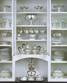 butler's pantry-why white? wall paper the back or paint the cabinet- show them off better and make yourself happy too