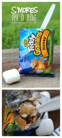 s\'mores in a bag--best campfire treat. Easy clean up and fun dessert for when you are camping.