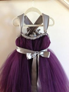 How cute would Paisley look in this?! - Eggplant tutu flower girl dress with silver  by HadandHarps, $60.00