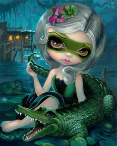 """Alligator Girl"" - original painting 8x10"" $2400 is AVAILABLE , prints from $9.99 on sale worldwide here: http://www.strangeling.com/shop/fine-art-prints/alligator-girl/ - prints, canvases & the original painting of my beautiful Alligator Girl! #jasminebecketgriffith #megacon #megacon2017 #alligatorgirl #alligator #gators #swamp #painting #fantasyart #popsurrealism #newcontemporary #newcontemporaryart #megaconvention #lowbrowart #acrylic #acrylics #bigeyes #bigeyeart #bigeyedart #art #artist…"