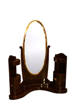 JULES LELEU ART DECO BURR AMBOYNA AND IVORY INLAID CHEVAL MIRROR, 1923