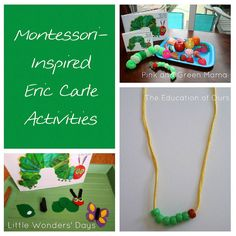 You'll find LOTS of Eric Carle activities here - a roundup of Montessori-inspired activities, links to an Eric Carle Activities Pinterest board, and a Happy Birthday Eric Carle linky.