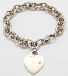 .925 Sterling Silver Tiffany& Co Tag Heart Chain Bracelet (34.9g) #TiffanyCo #Unavailable