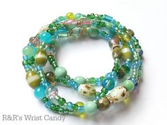 Green Splash Beaded Bracelet Set by RandRsWristCandy on Etsy, $8.00