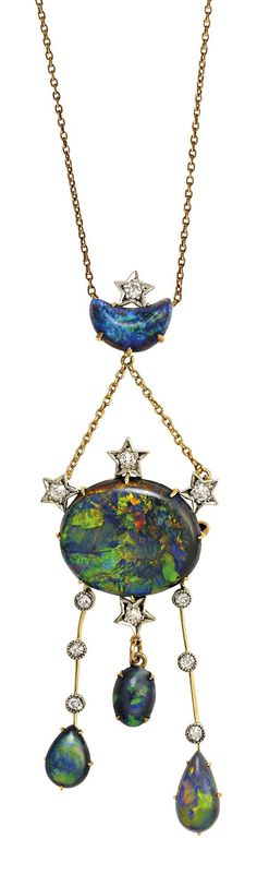 Art Nouveau, Belle Epoque, and Edwardian Jewelry ~ celestial opal and diamond necklace/brooch, circa 1910
