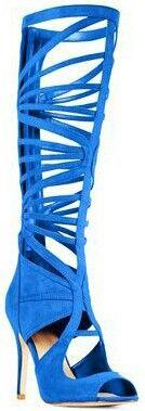 Blue boot shoe. .