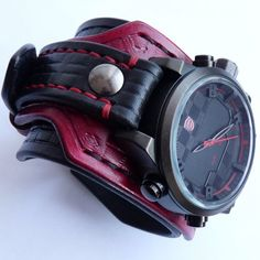 Black & Red Leather Cuff Watch, Wrist Watch, Leather Men's w… – Clock Ideas Sport Watches, Cool Watches, Watches For Men, Leather Cuffs, Leather Men, Red Leather, Mens Watches Leather, Leather Watch Bands, Luxury Watches