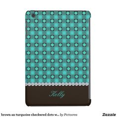 brown an turquoise chequered dots with diamonds -  #iPad #case #cover