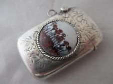 ANTIQUE 1901 BHAM EDWARDIAN STERLING SILVER VESTA CASE HUNTING DOGS ENAMEL