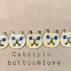 Ordermade シャムネコボタン5匹 cat ねこ 猫 button handmade ハンドメイド