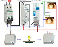 Esquemas eléctricos: Minutero escalera contactor unipolar