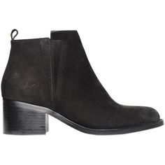 KG BY KURT GEIGER 50mm Nubuck Leather Ankle Boots ($269) ❤ liked on Polyvore featuring shoes, boots, ankle booties, black, black bootie, mid heel booties, faux boots, black ankle boots and black ankle booties