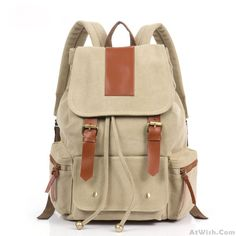 Wow~ Awesome Retro good Canvas with leather Backpack! It only $49.99 at…