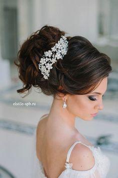wedding updo hair style with pearls 2 / http://www.deerpearlflowers.com/wedding-bridal-hairstyles-for-long-hair/