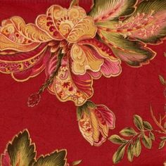 "54"" Wide Fabric by the Yard, Swavelle Luxuriance Century Poppy, Jade Rose Cream Jacobean Floral Print with Metalic Accents over Red Floral. $30.00/yd"