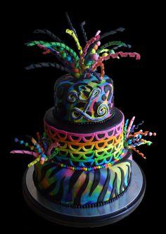 Makennas next birthday cake.Rainbow Explosion Birthday Cake by kgoodpasture on Cake Central Fancy Cakes, Cute Cakes, Mini Cakes, Cupcake Cakes, Unique Cakes, Creative Cakes, Beautiful Cakes, Amazing Cakes, Bolo Neon