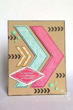 Scapbooking & Cardmaking with Latrice Murphy | No. 1 - Everyday is an Adventure with You card featuring Scenery: V for cheVron.  #winniewalter