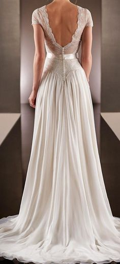 2015 Spring Backless Wedding Dresses with Short Sleeve Sheer V Neck Sweep Train A Line Chiffon Lace Bridal Gowns with Crystal Belt, $181.16   DHgate.com