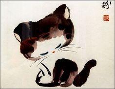 Kitten, Chinese Brush Painting by Nick Summerbell