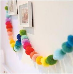 rainbow pom-pom garland