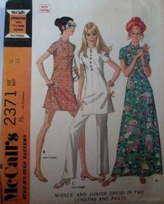 McCalls 2371 Womens Mini Dress or Tunic or Evening Length Dress & Pants Bust 34