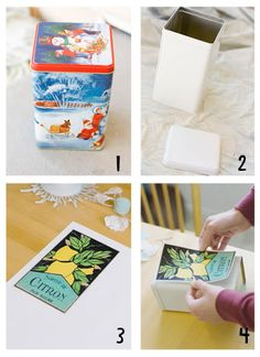 Repurpose those old Christmas tins with paint, sticker paper, and downloaded images