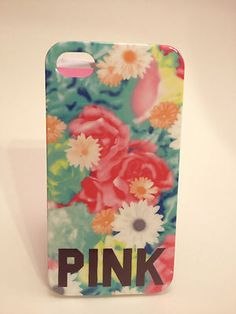Victoria's Secret Pink Floral iPhone 4 4S Cell Phone Hard Case Cover ✅