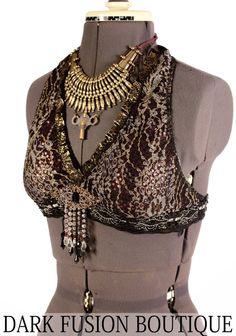 Halter B C D or DD Cup  Black Plum and Gray by darkfusionboutique, $90.00