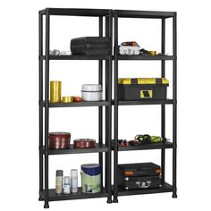 VonHaus 5 Tier Garage Shelving Unit with Wall Brackets Pack of 2 Heavy Duty Black Plastic Interlocking Utility Storage Shelves Each Unit 68 x 24 x 12 inches * Learn more by visiting the image link. Plastic Shelving Units, Garage Shelving Units, Utility Shelves, Office Shelving, Shelving Racks, Garage Storage, Storage Rack, Storage Spaces, Garden Storage Shed