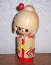 "Collectible Japanese KOKESHI DOLL 6"" Tall Wood Asian Figurine"