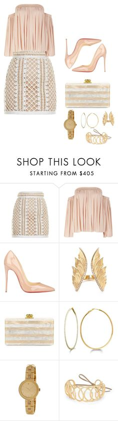 """Friday night outfit"" by vanessa-flugence ❤ liked on Polyvore featuring Balmain, Elizabeth and James, Christian Louboutin, Stephen Webster, Edie Parker, Allurez, Movado and Loewe"