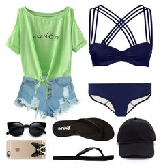 """""""Yuuka"""" by unachica on Polyvore featuring WithChic, Lisa Marie Fernandez, L'Agent By Agent Provocateur, Reef, Casetify, women's clothing, women's fashion, women, female and woman"""