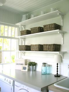 Thinking these shelves from IKEA or a basic premade white cabinet from HomeDepot/Lowes for above the counter.