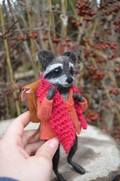 Sweet Traveler Raccoon 8 inches 20cm Felting by feltingdreams, $230.00