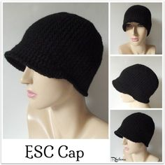 FREE crochet pattern for an ESC Cap. The cap is perfect for cooler weather in the fall or winter. Plus it helps to keep the sun out of your eyes.