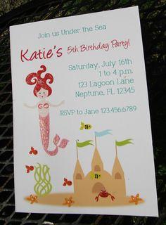 Invitations - GLITTER Mermaid Custom by LittlePigPress