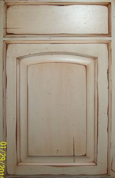 cream distressed kitchen cabinets | soft cream color (in this case